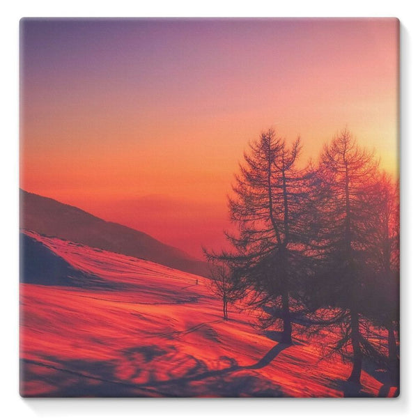 Sunset View On Mountain Stretched Canvas 10X10 Wall Decor