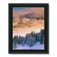 Trees Covered With Mountain Framed Canvas 12X16 Wall Decor