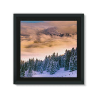 Trees Covered With Mountain Framed Canvas 14X14 Wall Decor