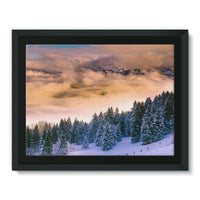 Trees Covered With Mountain Framed Canvas 16X12 Wall Decor