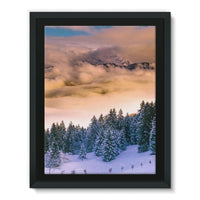 Trees Covered With Mountain Framed Canvas 18X24 Wall Decor