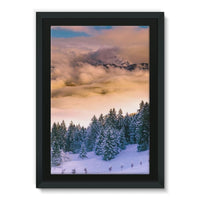 Trees Covered With Mountain Framed Canvas 24X36 Wall Decor