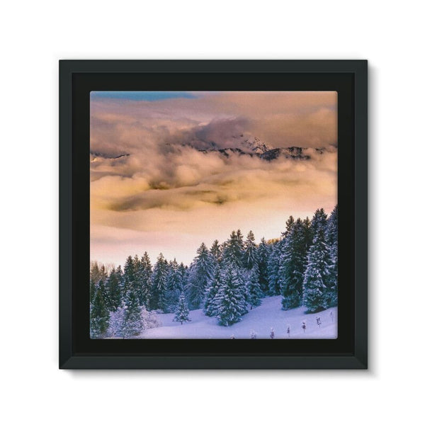 Trees Covered With Mountain Framed Eco-Canvas 10X10 Wall Decor