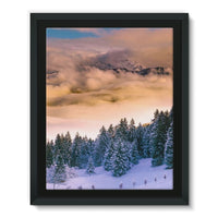 Trees Covered With Mountain Framed Eco-Canvas 11X14 Wall Decor