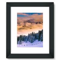 Trees Covered With Mountain Framed Fine Art Print 12X16 / Black Wall Decor
