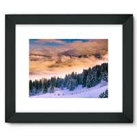 Trees Covered With Mountain Framed Fine Art Print 16X12 / Black Wall Decor