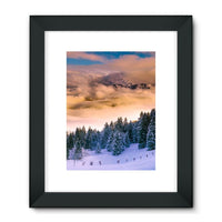 Trees Covered With Mountain Framed Fine Art Print 24X32 / Black Wall Decor