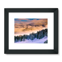 Trees Covered With Mountain Framed Fine Art Print 32X24 / Black Wall Decor