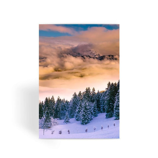 Trees Covered With Mountain Greeting Card 1 Prints
