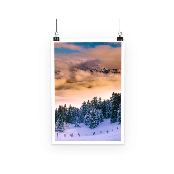 Trees Covered With Mountain Poster A3 Wall Decor