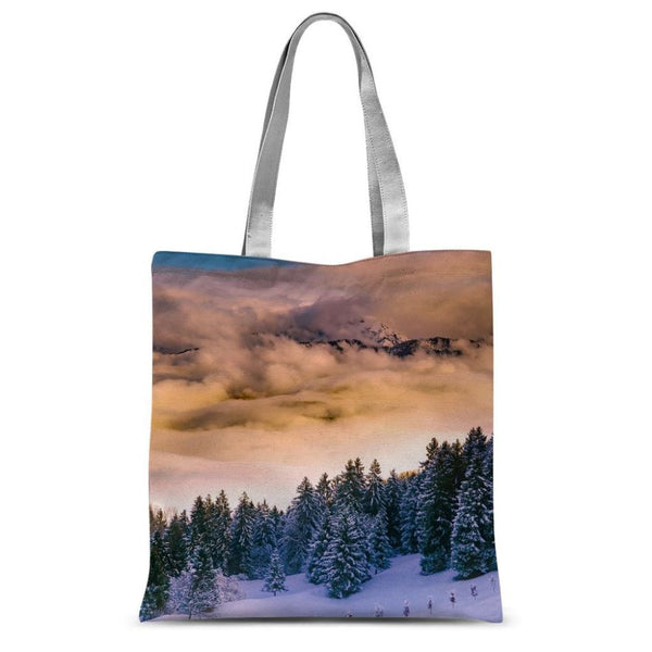 Trees Covered With Mountain Sublimation Tote Bag 15X16.5 Accessories