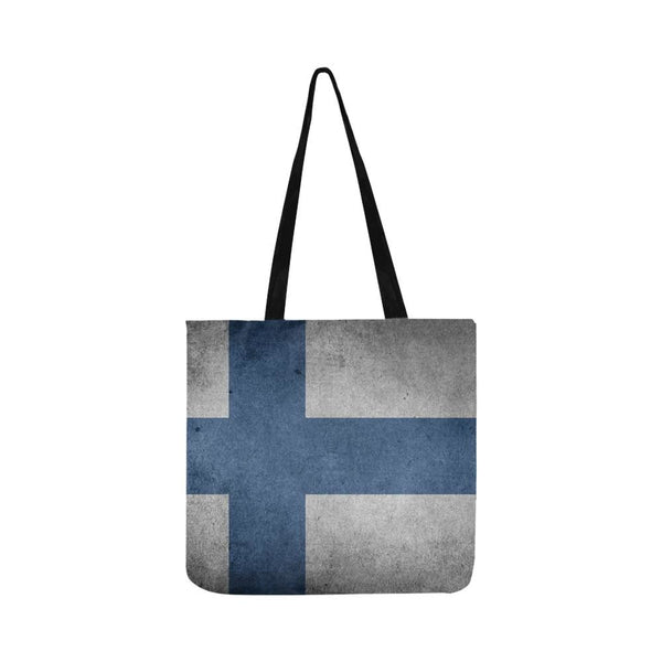 Vintage Old Grunge Flag Of Finland Reusable Tote Shopping Bag (Two Sides) (1660)