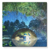 Water Pond Covered Stretched Canvas 10X10 Wall Decor