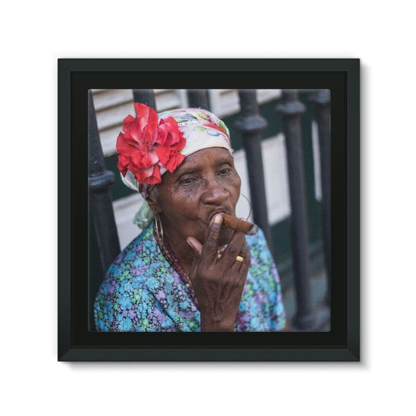 Women Smoking Cuban Cigars Framed Eco-Canvas 10X10 Wall Decor