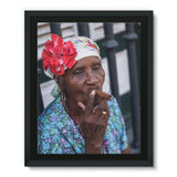 Women Smoking Cuban Cigars Framed Eco-Canvas 11X14 Wall Decor