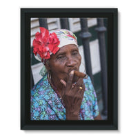 Women Smoking Cuban Cigars Framed Eco-Canvas 18X24 Wall Decor