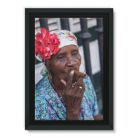 Women Smoking Cuban Cigars Framed Eco-Canvas 24X36 Wall Decor