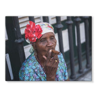 Women Smoking Cuban Cigars Stretched Eco-Canvas 24X18 Wall Decor
