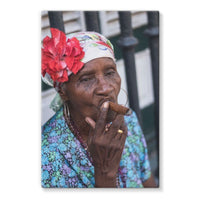 Women Smoking Cuban Cigars Stretched Eco-Canvas 24X36 Wall Decor