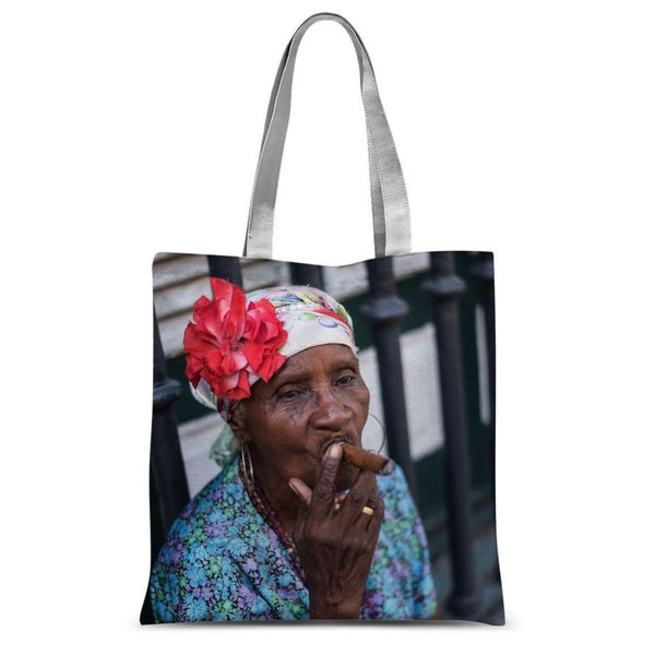 Women Smoking Cuban Cigars Sublimation Tote Bag 15X16.5 Accessories