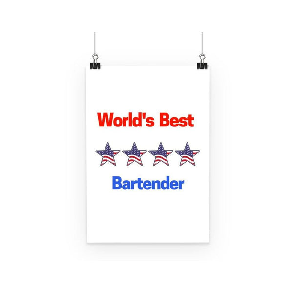 Worlds Best Bartender Poster A3 Wall Decor