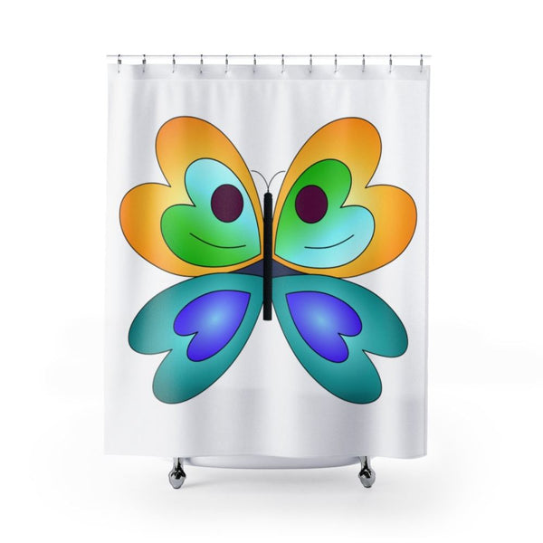 Yellow Blue Butterfly Shower Curtains 71X74 Home Decor