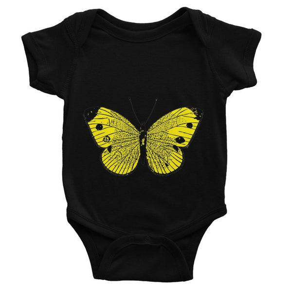 Yellow Comic Butterfly Baby Bodysuit 0-3 Months / Black Apparel