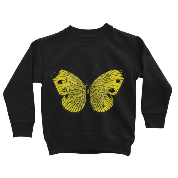 Yellow Comic Butterfly Kids Sweatshirt 3-4 Years / Jet Black Apparel