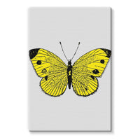 Yellow Comic Butterfly Stretched Canvas 20X30 Wall Decor