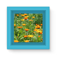 Yellow Flowers Fields Magnet Frame Light Blue Homeware