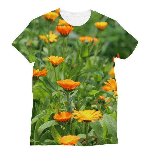 Yellow Flowers Fields Sublimation T-Shirt S Apparel