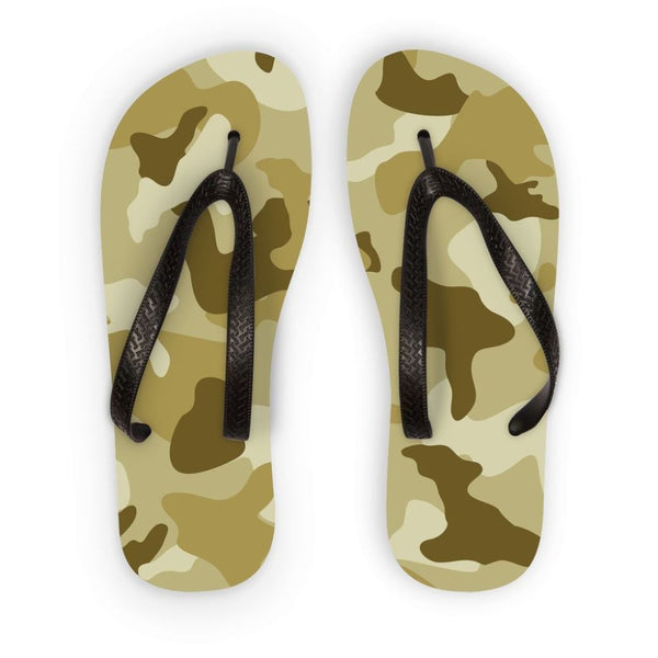 Yellow Sand Camo Flip Flops S Accessories