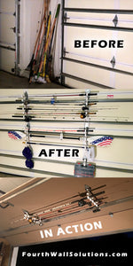 Garage Storage Garage Door Storage HOOKS RACKS for Fishing Rods, Paddles, Garden Tools
