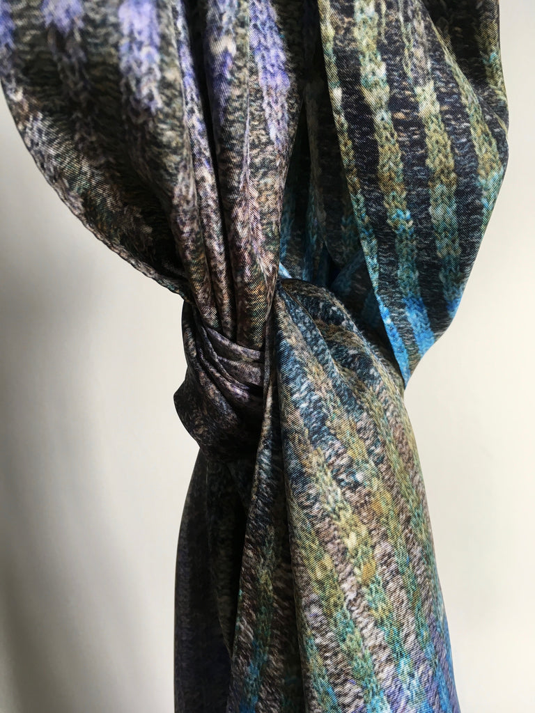 'Knitted' Silk Scarf - River Slate