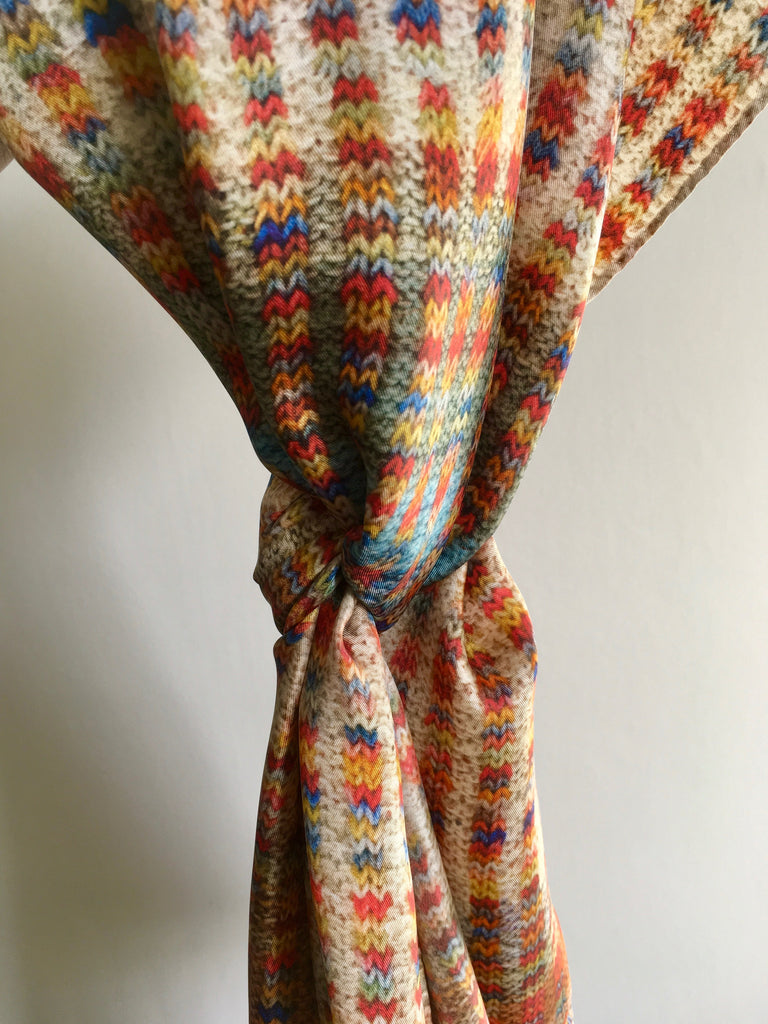 'Knitted' Silk Scarf - Tumblestone