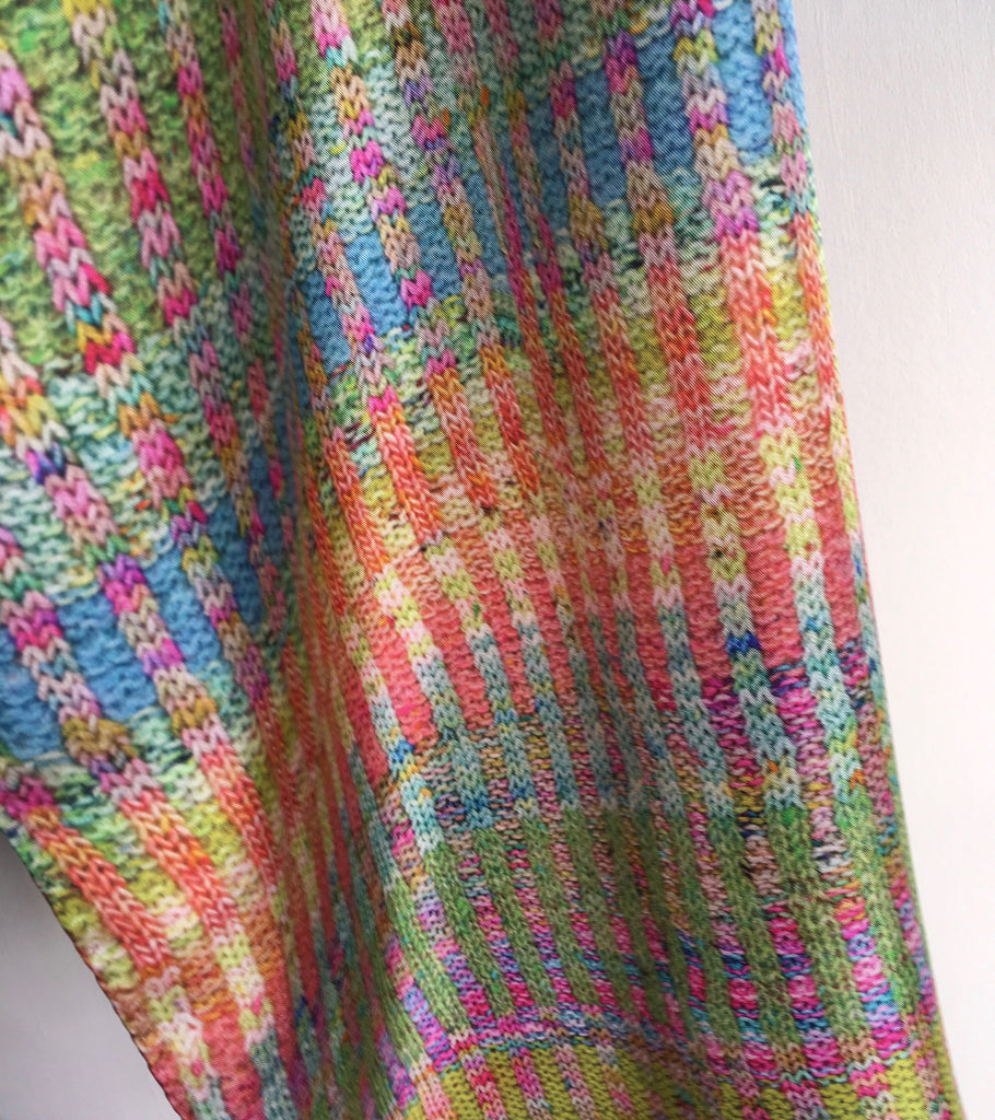 'Knitted' Silk Scarf - Sherbet Bright