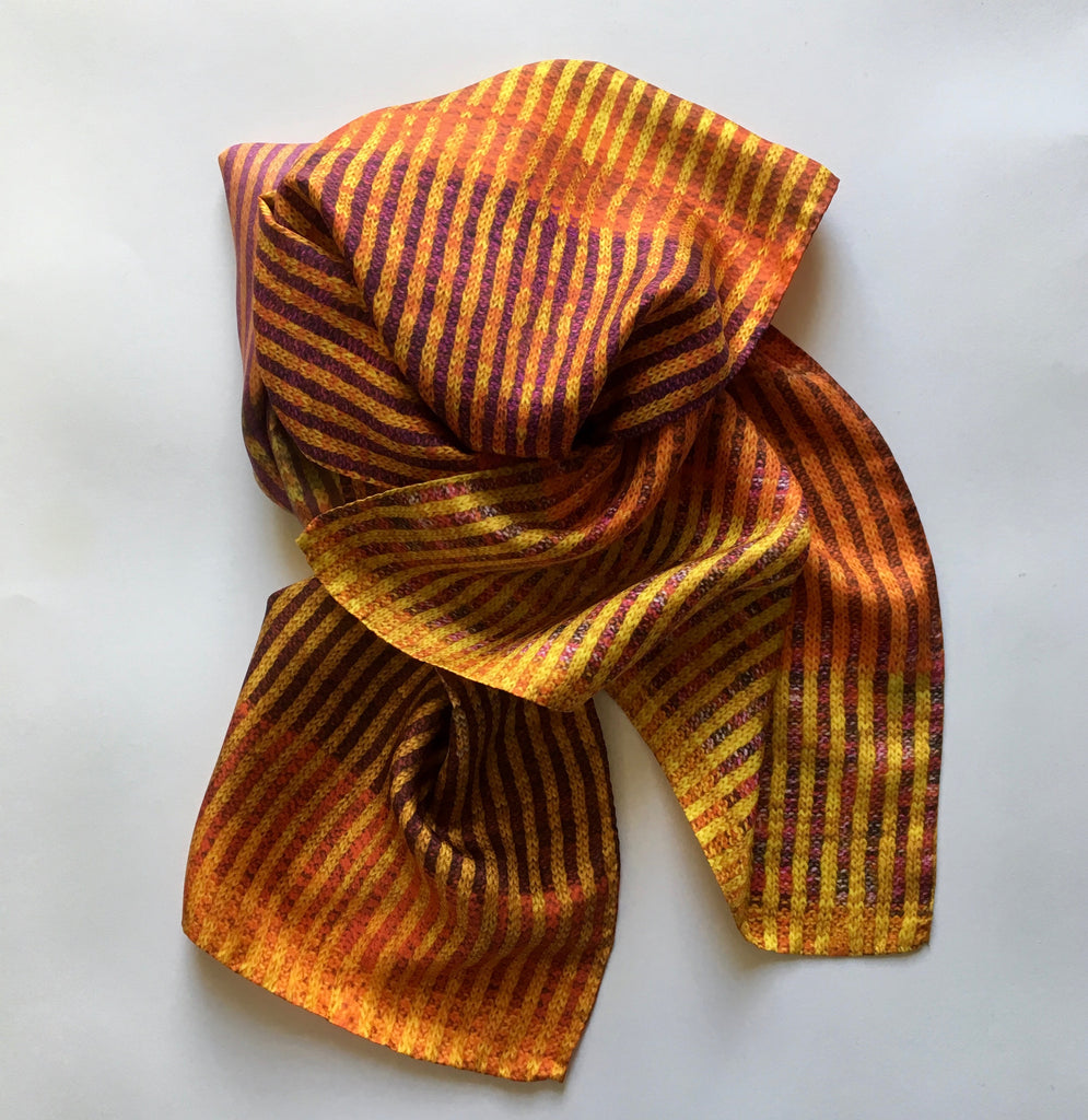 'Knitted' Silk Scarf - Copper Maple