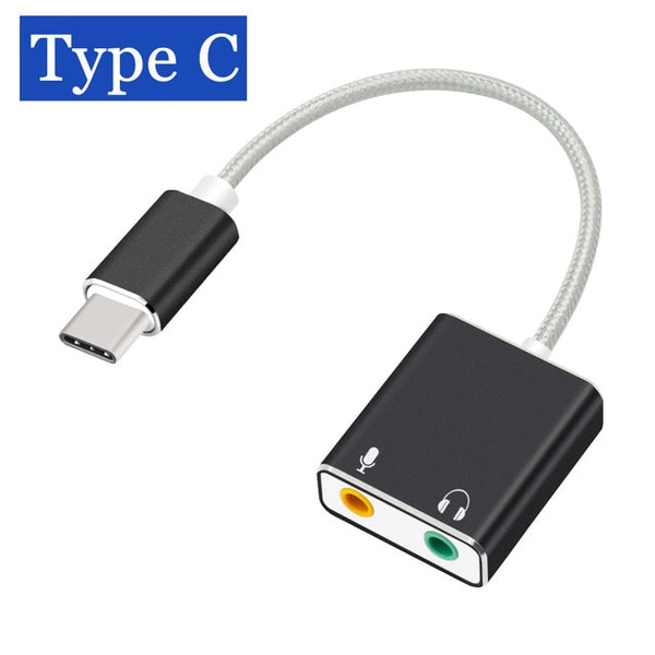 7.1 External Sound Card Type-C to USB 3.5mm Jack Audio Adapter