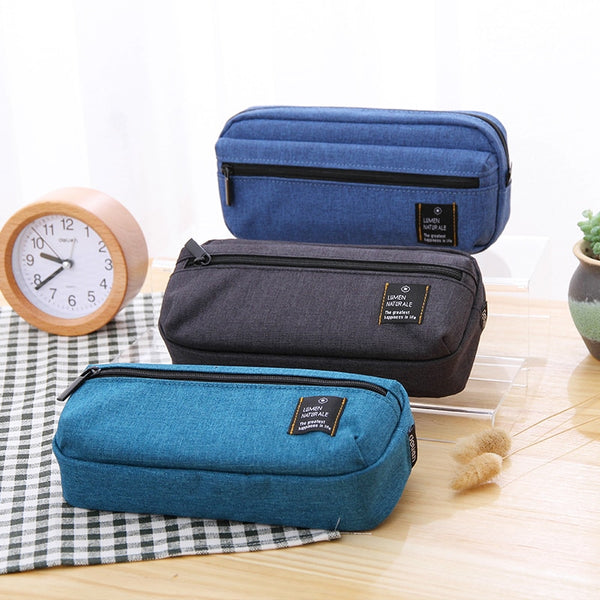 Canvas Large Capacity Pencil Storage Zipper Case
