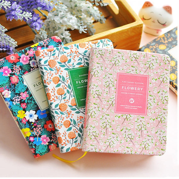 Leather Floral Cover With Thick Paper Weekly Planner Notebook