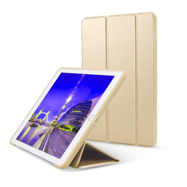 Leather Anti-Slip Stand Tri-Fold Portable Hasp Closure Tablet Cover