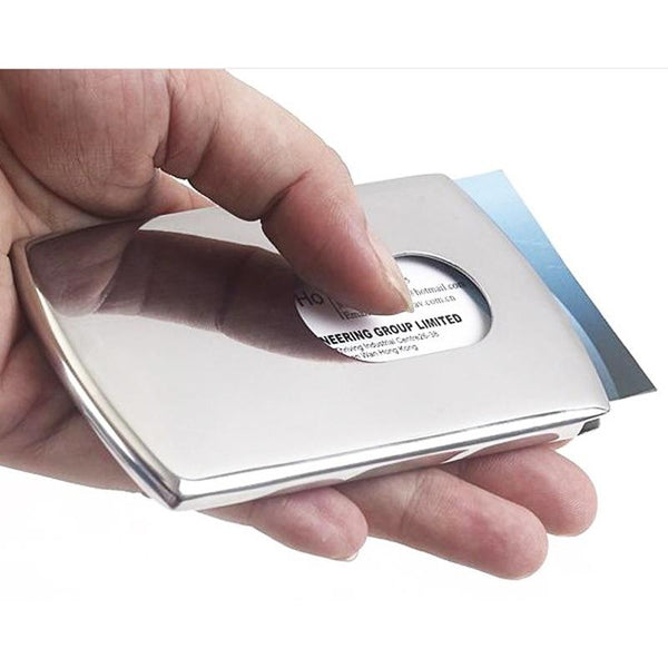 Stainless Steel Thumb Slide Out Business Card Holder Case
