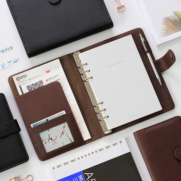 Leather Cover With Loose-Leaf Detachable Buckle Ring Office Workbook