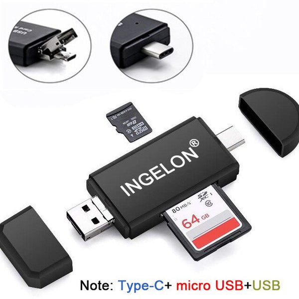 USB Type-C OTG TF/SC MMC Card Reader Extension Adapter
