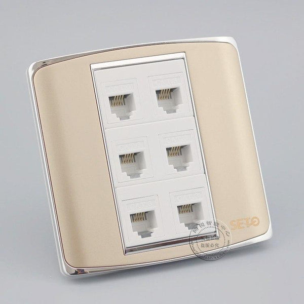 Universal 6 Port Power Supply Integrated Plain Wall Socket