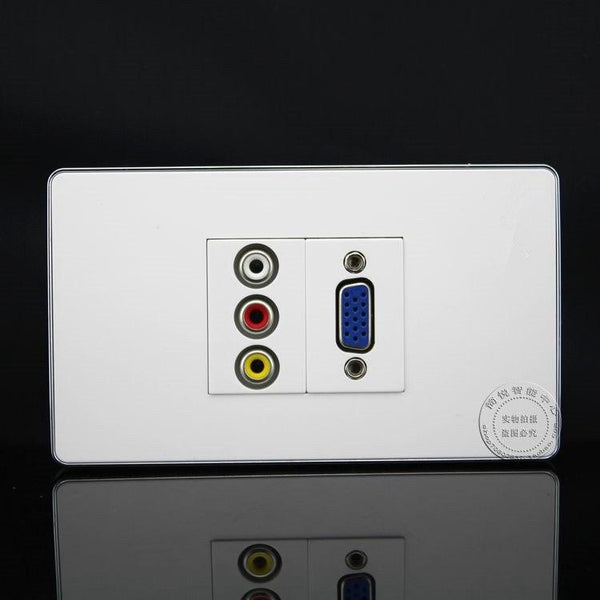 High Capacity RCA VGA Connector Power Integrated Socket Panel