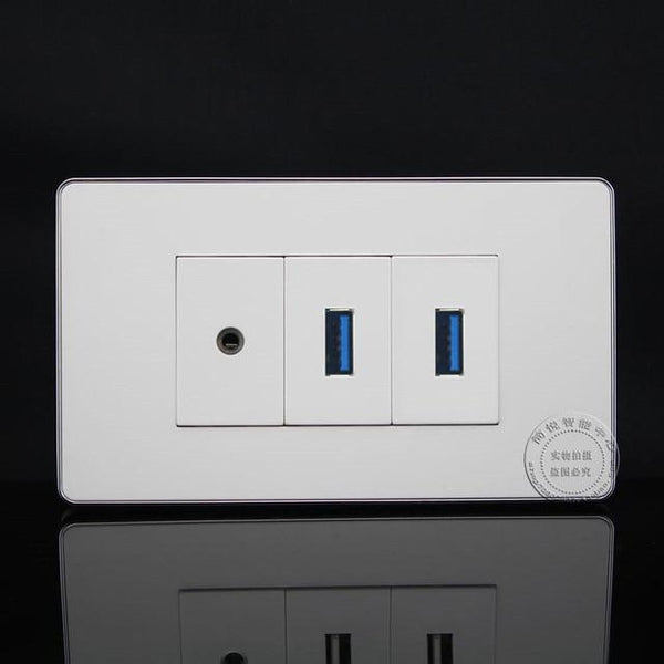 High Capacity Dual USB 3.0 Port 3.5mm Jack Integrated  Wall Socket