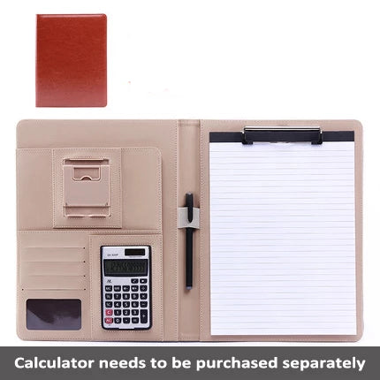Leather File Document Holder Multi-Function Bifold Padfolio