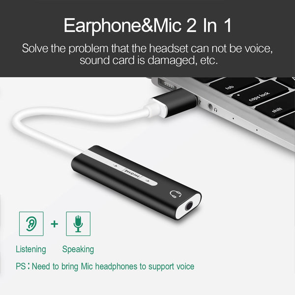 2 In 1 USB 3.0 to 3.5mm Jack Audio External Sound Adapter