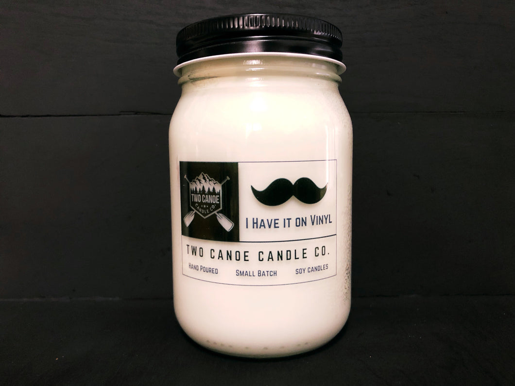 I have it on Vinyl 16oz Jar Candle